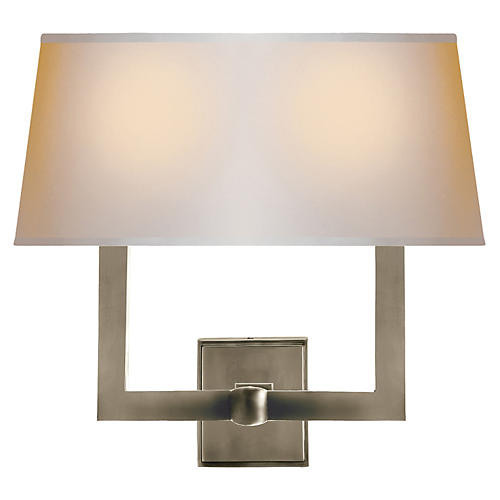 Square Tube Double Sconce, Nickel