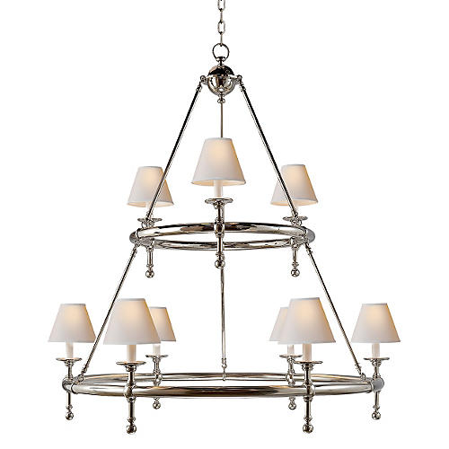 Classic Ring Chandelier, Polished Nickel