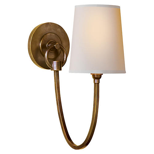 Reed Single Sconce, Antiqued Brass