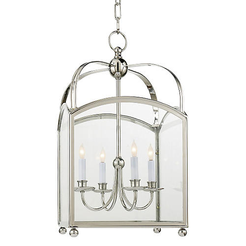 Arch Top Lantern, Polished Nickel