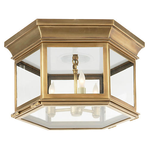 Club Large Flush Mount, Antiqued Brass