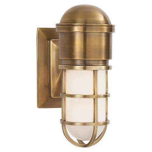 Marine Wall Light, Antiqued Brass