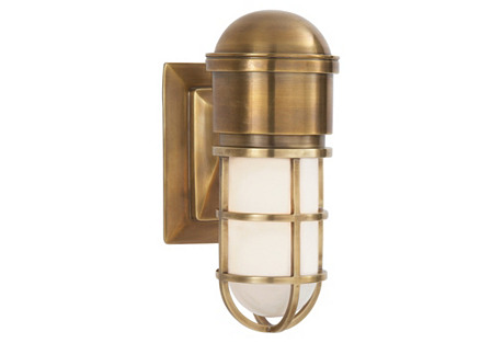 Marine Wall Light, Antiqued Brass