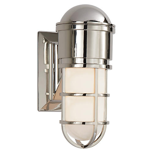 Marine Wall Light, Polished Nickel
