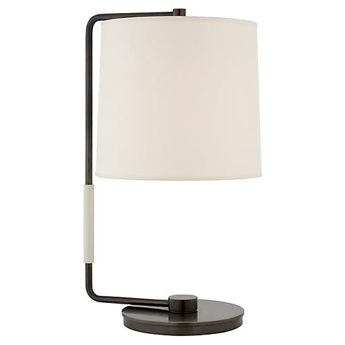 Swing Table Lamp, Bronze w/ Silk Shade