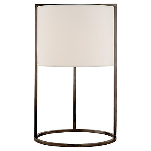 Framework Desk Lamp, Bronze w/Silk Shade