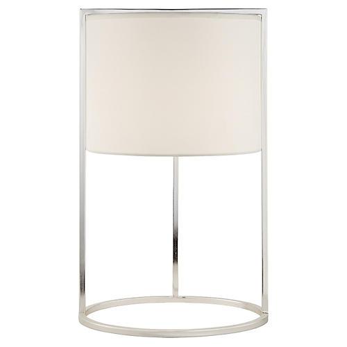 Framework Desk Lamp, Silver w/Silk Shade