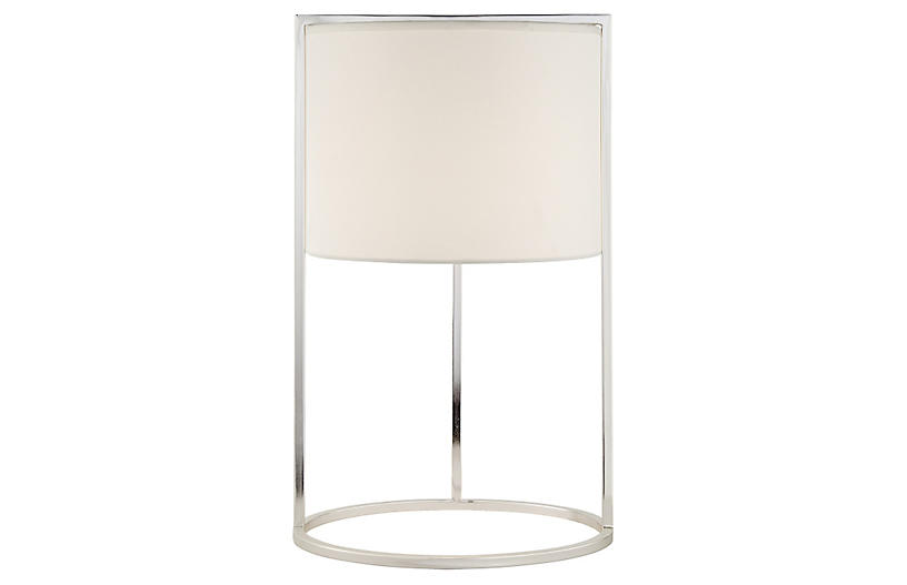 Framework Desk Lamp, Silver w/Silk Shade