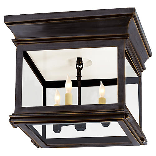 Club Square Flush Mount, Bronze