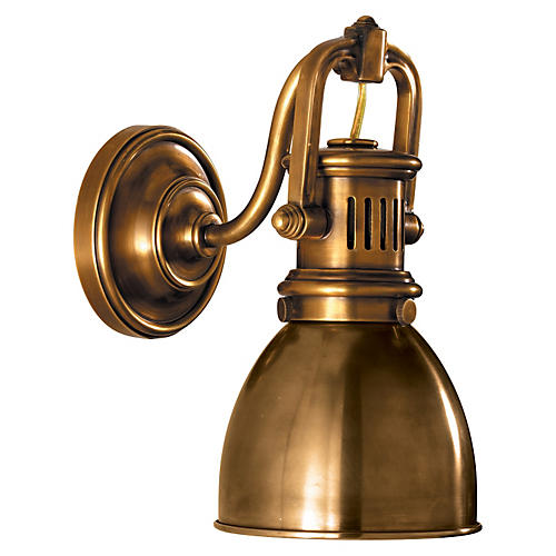Yoke Suspended Sconce, Antiqued Brass