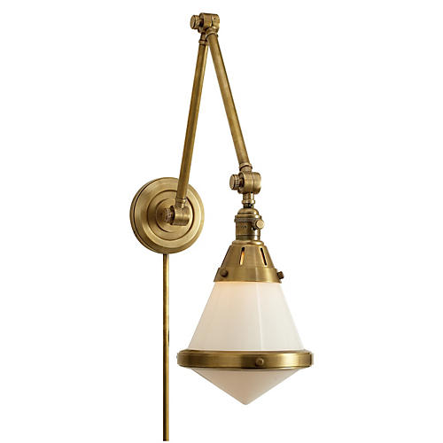 Gale Library Wall Light, Antiqued Brass