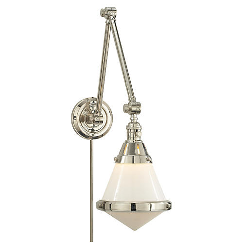 Gale Library Wall Light, Polished Nickel
