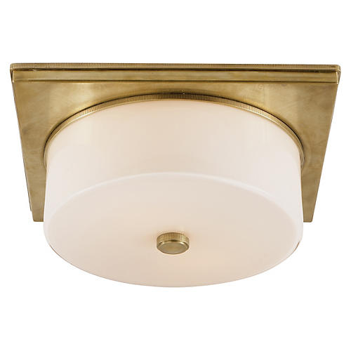 Newhouse Flush Mount, Antiqued Brass