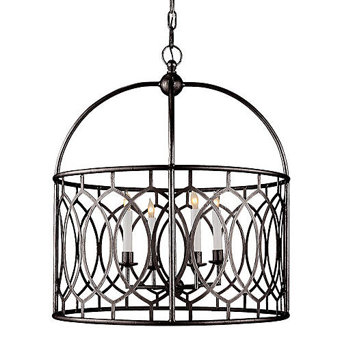 Marquise Wide Lantern, Aged Iron
