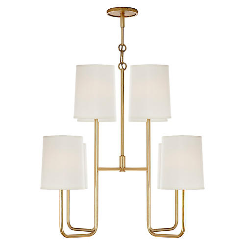 Go Lightly Medium Chandelier, Distressed Gold