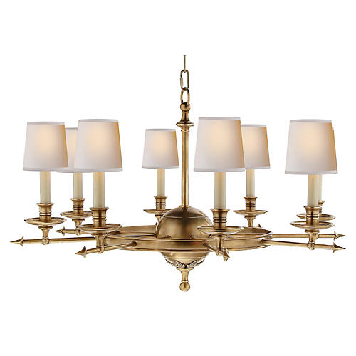 Leaf & Arrow Chandelier, Antiqued Brass
