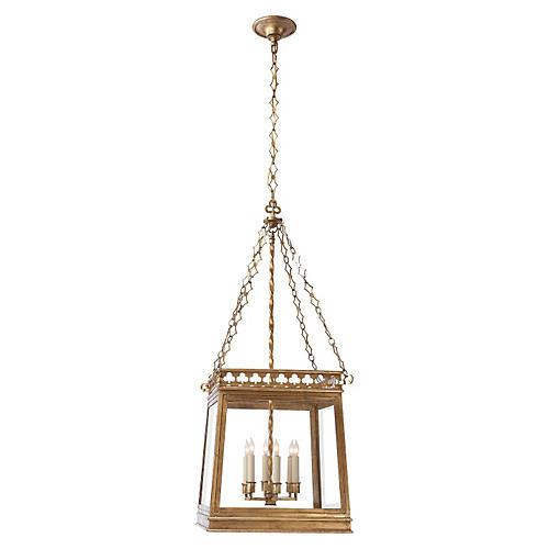 Clover Square Lantern, Gilded Iron