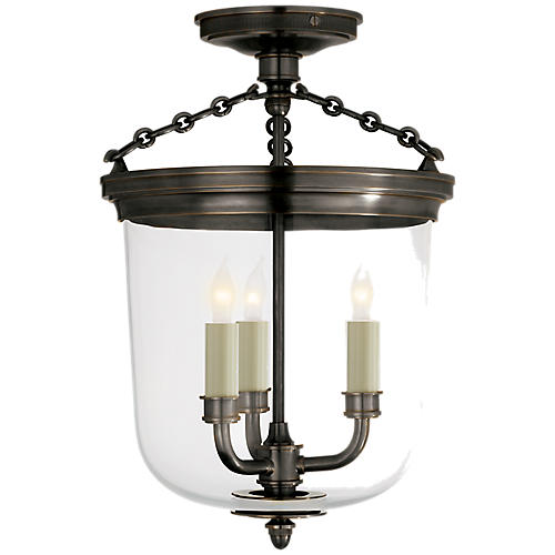 Merchant Semi Flush Mount, Bronze