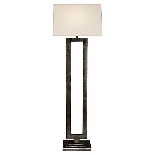 Modern Open Floor Lamp, Aged Iron