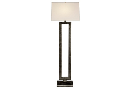 Modern Open Floor Lamp, Aged Iron