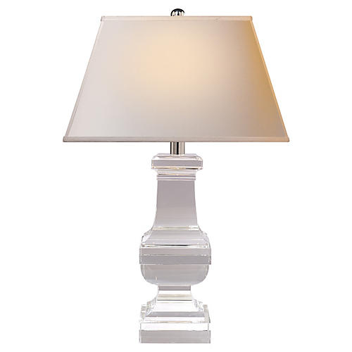 Square Balustrade Table Lamp, Crystal