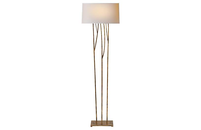 Aspen Floor Lamp, Gilded Iron