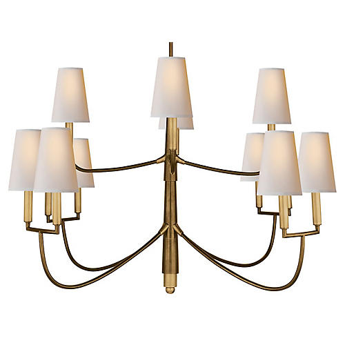 Farlane Large Chandelier, Antiqued Brass