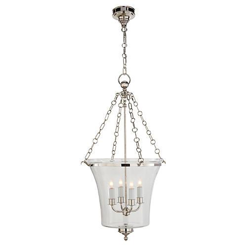 Sussex Medium Bell Jar Lantern, Nickel