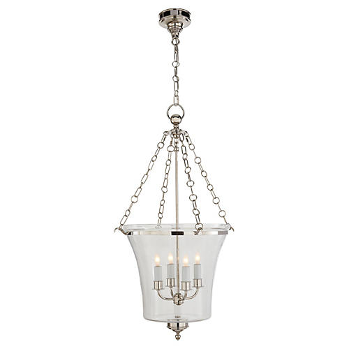 Sussex Medium Bell Jar Lantern, Nickel