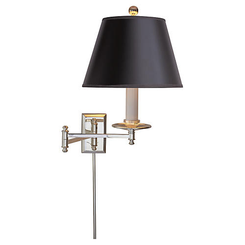 Dorchester Swing Arm Sconce, Polished Nickel