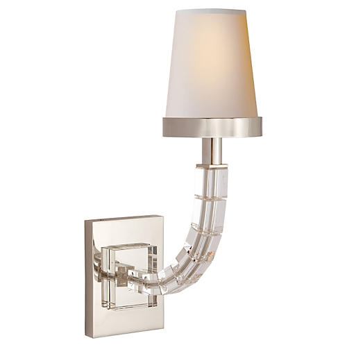Cube Crystal Sconce, Polished Nickel