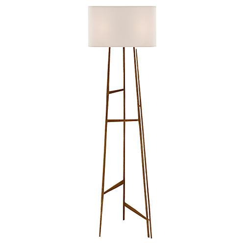 Vail Floor Lamp, Gilded Iron