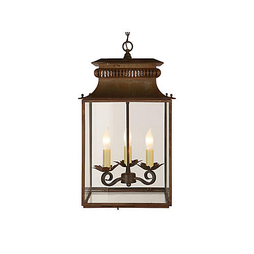Antiqued Zinc Honore Lantern, Small