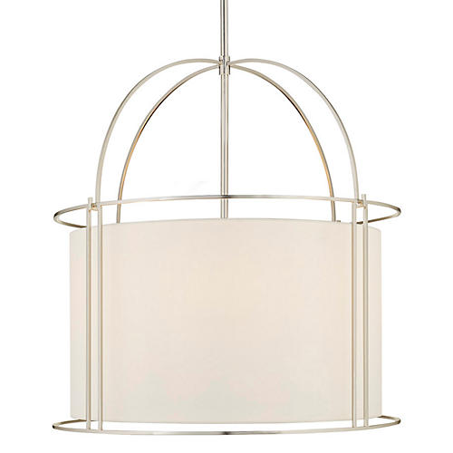 Capitol Four-Bulb Wide Lantern, Silver
