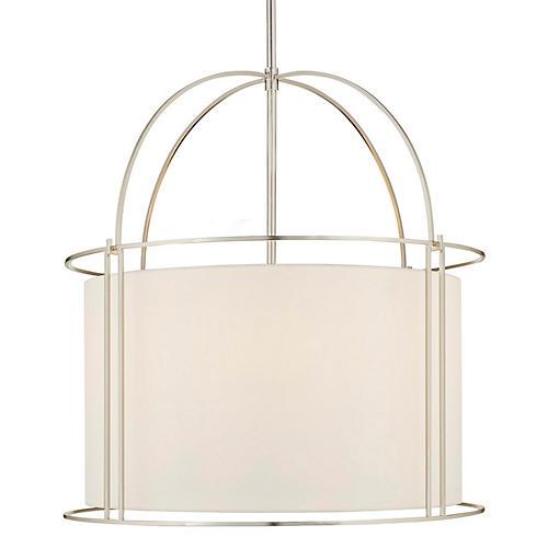 Capitol Four-Bulb Wide Lantern, Silver
