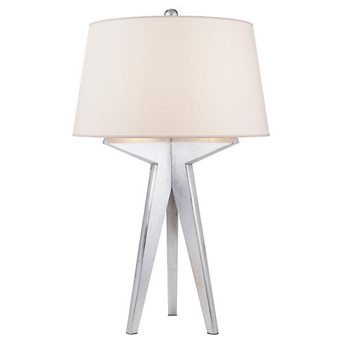 Russell Modern Tripod Table Lamp, Silver