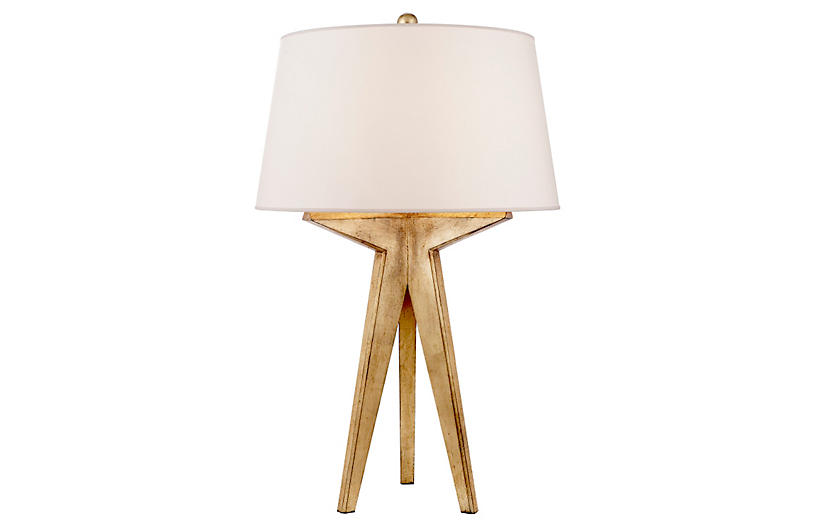 Russell Modern Tripod Table Lamp, Gilded