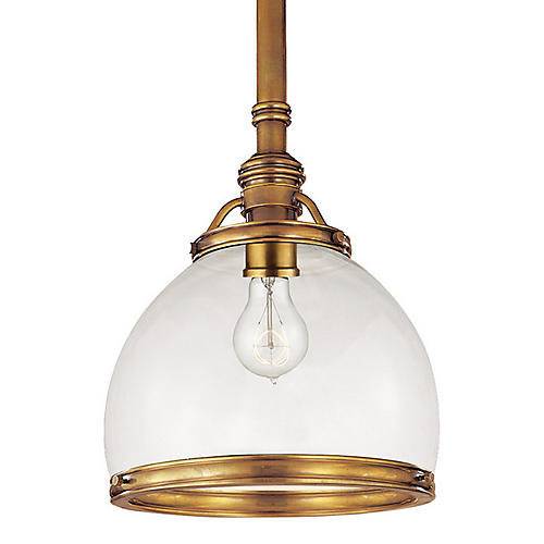Sloane Single Pendant, Brass/Glass