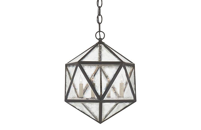 Zeno 4-Bulb Hedron Lantern, Aged Iron