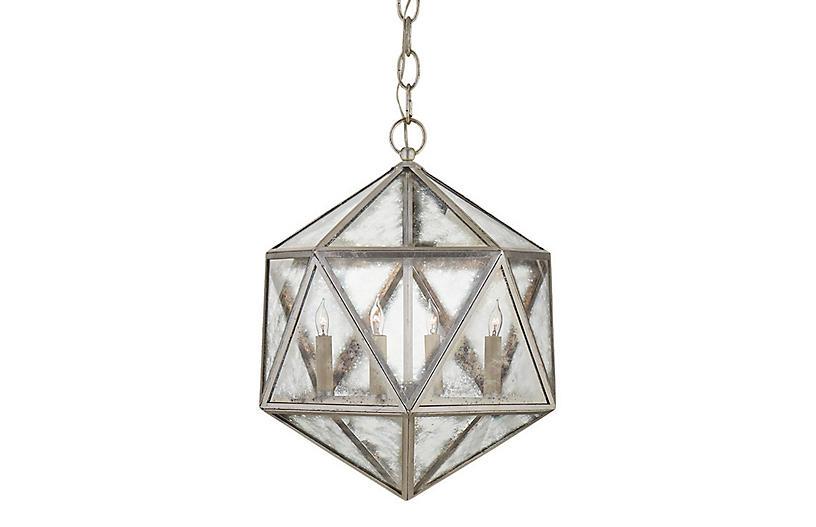 Zeno 4-Bulb Hedron Lantern, Silver Leaf