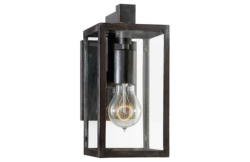 Fresno Short Outdoor Sconce, Aged Iron