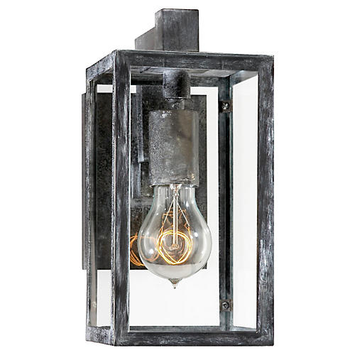 Fresno Short Outdoor Sconce, Worn Zinc