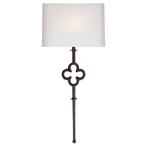 Quatrefoil Tail Sconce, Aged Iron