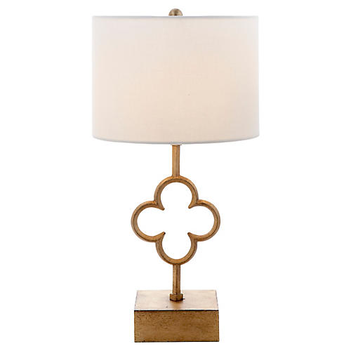 Quatrefoil Accent Lamp, Gilded Iron