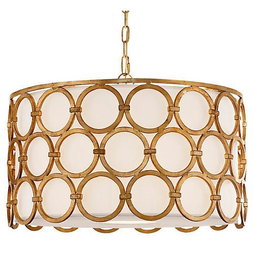 Alexandra Four-Bulb Pendant, Gilded Iron