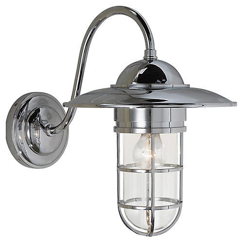 Marine Medium Outdoor Wall Light, Chrome