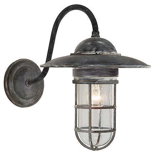 Marine Medium Outdoor Wall Light, Zinc