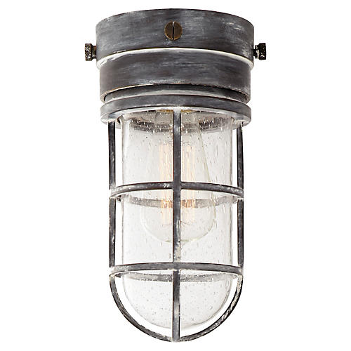 Marine Outdoor Flush Light, Worn Zinc