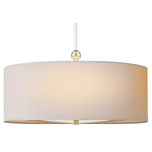 Reed Two-Bulb Pendant, Polished Nickel