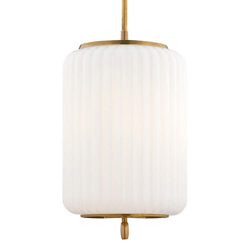 Eden Three-Bulb Pendant, Antiqued Brass